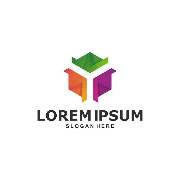 Kleurrijke zeshoekige abstracte logo sjabloon Premium Vector