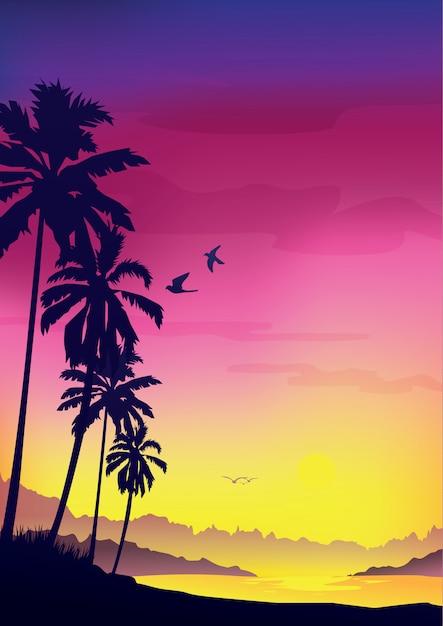 Kleurrijke zomer achtergrond, achtergrond met silhouet van palmbomen en tropische zonsopgang. Premium Vector