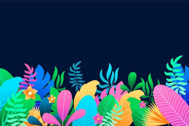 Kleurrijke zomer achtergrond met bladeren en bloemen Gratis Vector