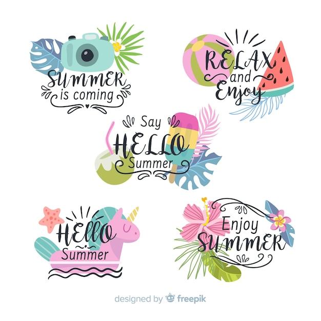 Kleurrijke zomer badge collectie Gratis Vector