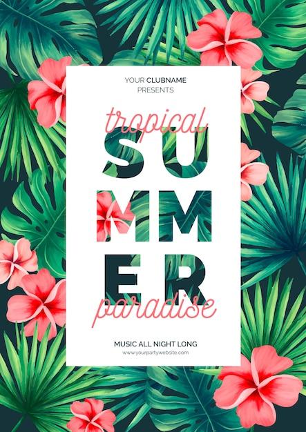 Kleurrijke zomer poster sjabloon met tropische bloemen Gratis Vector