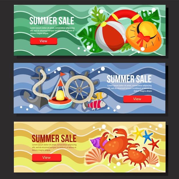 Kleurrijke zomer verkoop banner web mariene thema vectorillustratie instellen Premium Vector