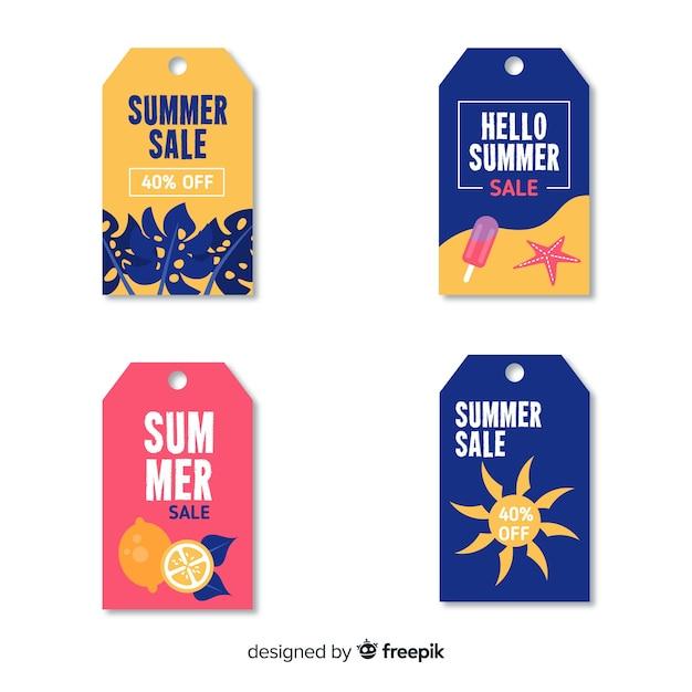 Kleurrijke zomer verkoop label collectie Gratis Vector