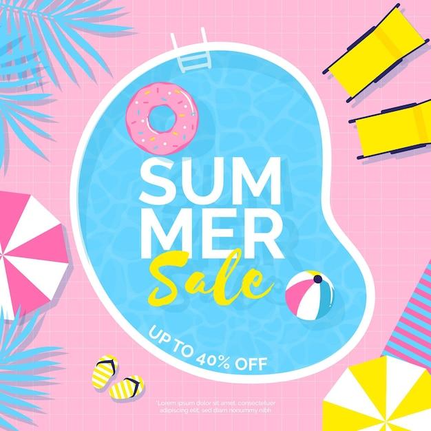Kleurrijke zomer verkoop met zwembad Premium Vector