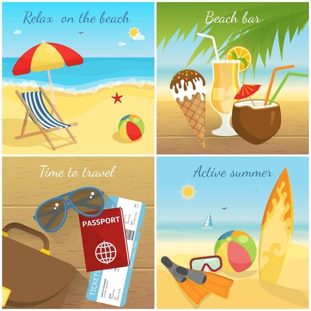 Kleurrijke zomervakantie concept Gratis Vector