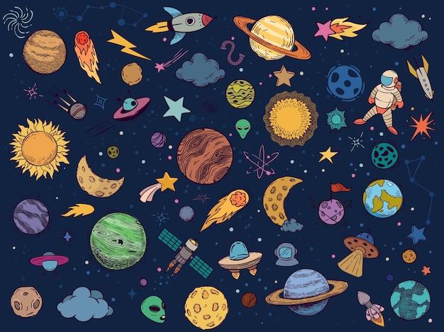 Kleurruimte doodle Gratis Vector