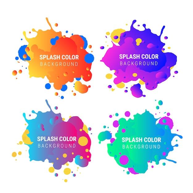 Kleurverloop splash-bannerverzameling Gratis Vector