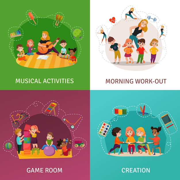 Kleuterschool concept icons set Gratis Vector