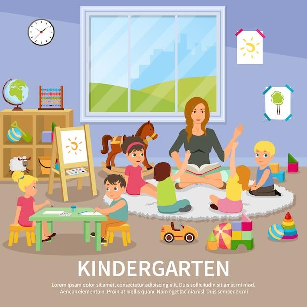 Kleuterschool illustratie Gratis Vector