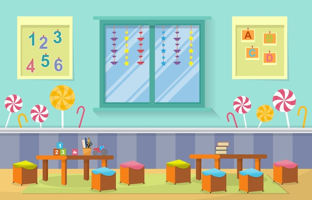 Kleuterschool klas interieur kinderen kinderen school speelgoed meubels Premium Vector