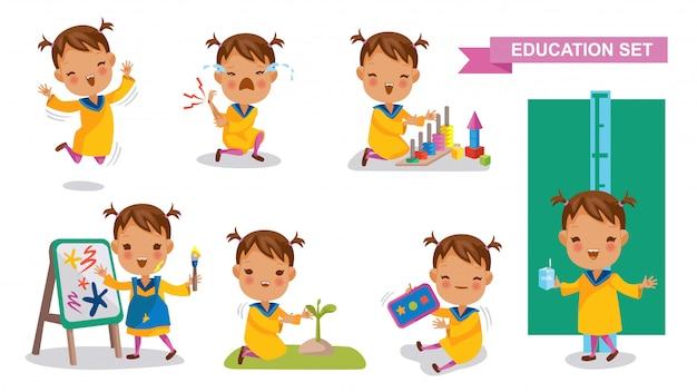 Kleuterschool meisje set. studentenactiviteit en terug naar school-concept. Premium Vector