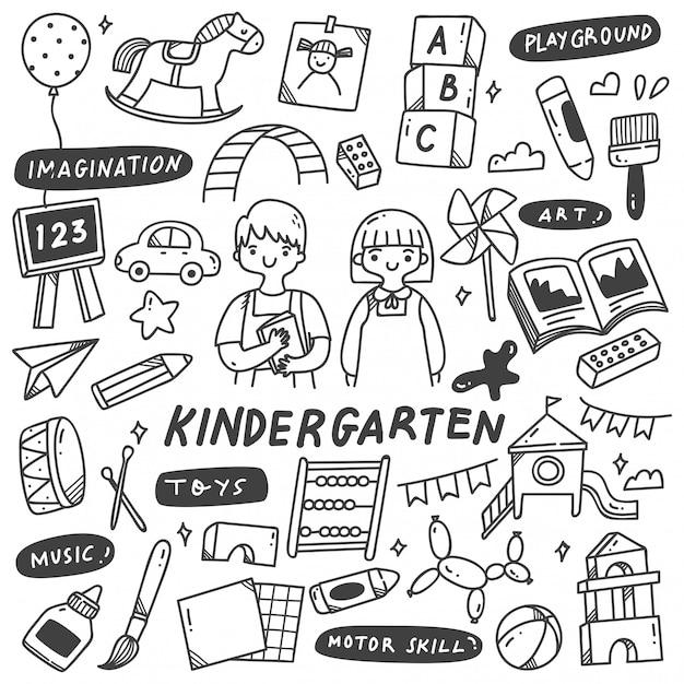 Kleuterschool speelgoed doodle illustratie Premium Vector