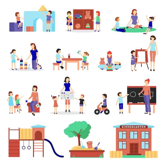 Kleuterschoolpictogrammen met vlakten ouders en kinderen worden geplaatst die Gratis Vector