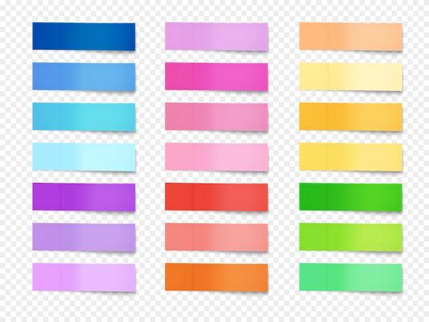 Kleverige nota's illustratie van papieren memo van verschillende kleuren. Gratis Vector