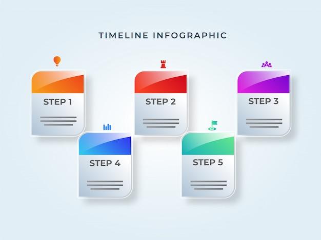 Kleverige nota tijdlijn infographic elementen met vijf verschillende le Premium Vector
