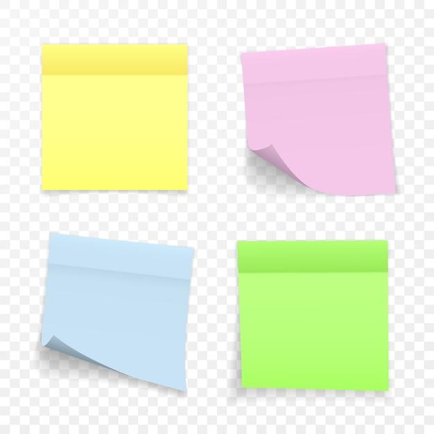 Kleverige papieren notitie met schaduweffect. lege kleur memo note stickers voor plaatsing geïsoleerd op transparante achtergrond. illustratie. Premium Vector