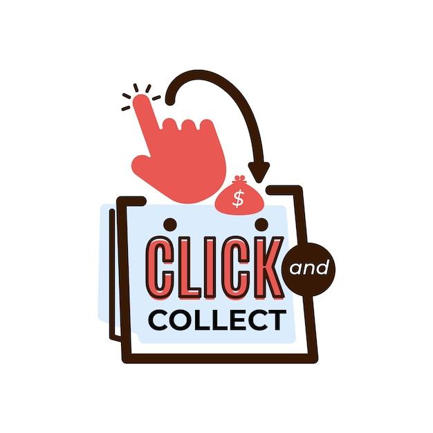 Klik en verzamel een gedetailleerd logobord Gratis Vector