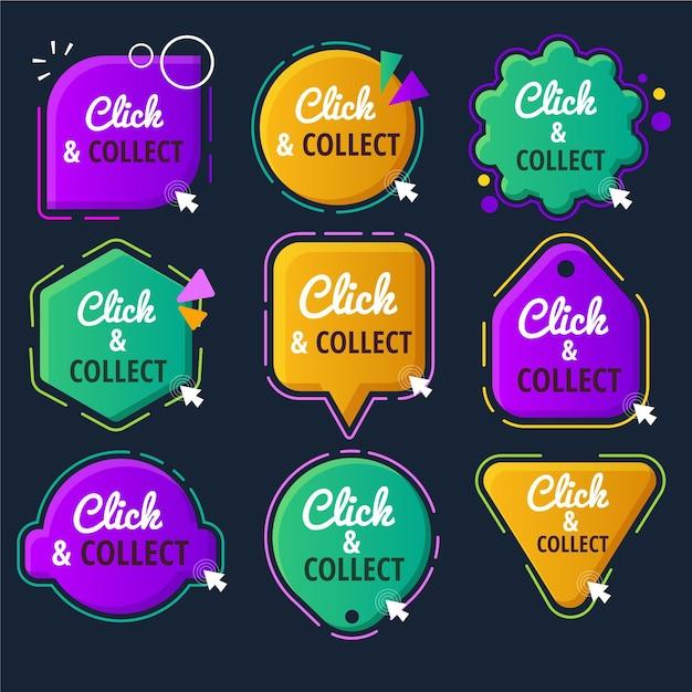 Klik en verzamel knoppenverzameling Gratis Vector