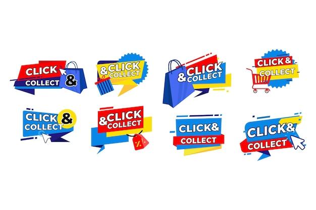 Klik en verzamel knopverzameling Premium Vector