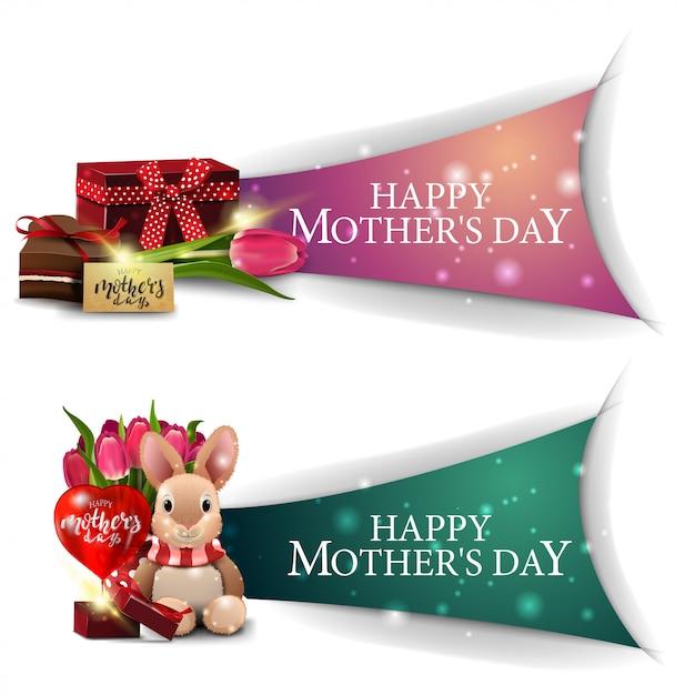Klikbare moederdaggroeten banner voor website Premium Vector