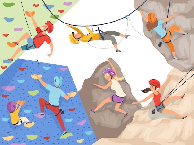 Klim karakters. extreme sport rotswand rotsen en stenen grote rotsachtige heuvels en bergen verkennen mannelijke en vrouwelijke sporters Premium Vector