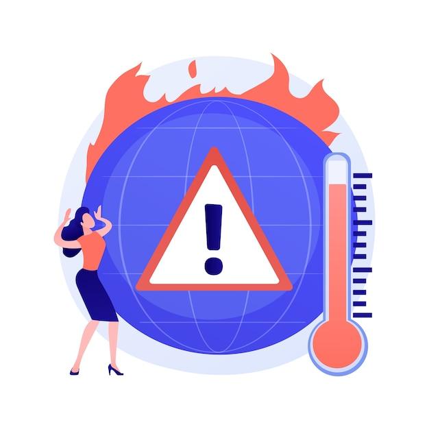 Klimaatverandering op aarde, temperatuurstijging, opwarming van de aarde. meerdere branden, vernietiging van flora en fauna, flora en fauna en schade aan de mensheid Gratis Vector