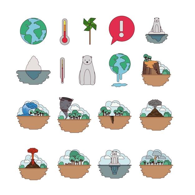 Klimaatverandering vastgestelde pictogrammen Premium Vector