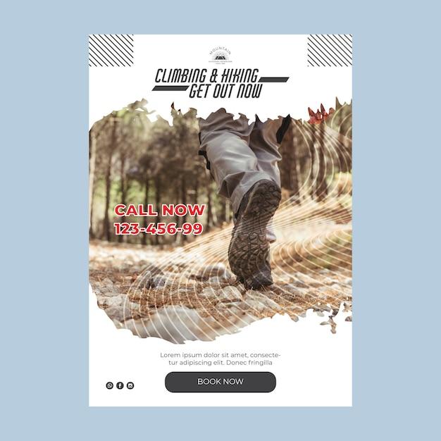 Klimmen a5 flyer-sjabloon met foto Gratis Vector