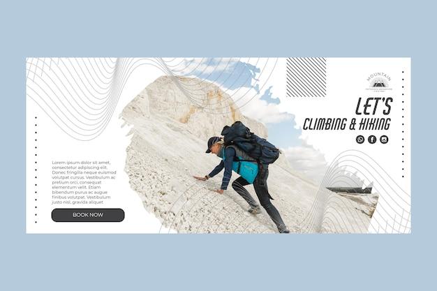 Klimmen horizontale banner sjabloon met foto Gratis Vector
