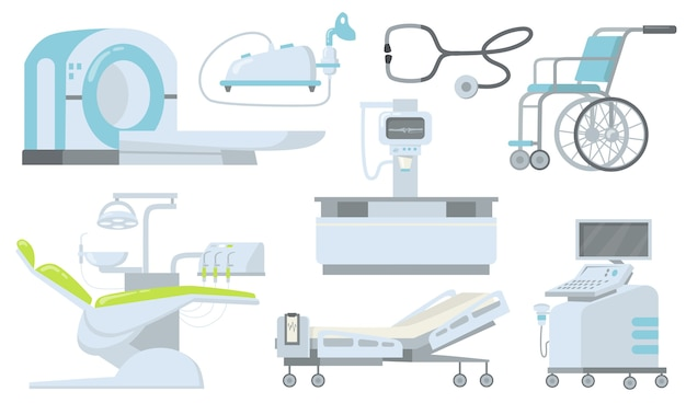 Kliniek en ziekenhuis medische apparaten platte item set. Gratis Vector