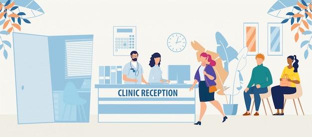 Kliniek receptie kamer met arts en patiënten Premium Vector