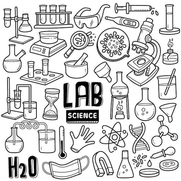 Klinische laboratoriumwetenschappen zwart-wit doodle illustratie. Premium Vector