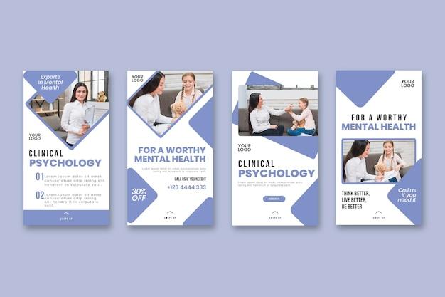 Klinische psychologie instagram verhalen sjabloon Premium Vector