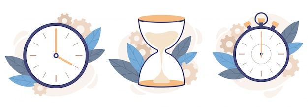 Klok, zandloper en stopwatch. analoge horlogeklokken, countdown timer en tijdbeheer illustratie set Premium Vector