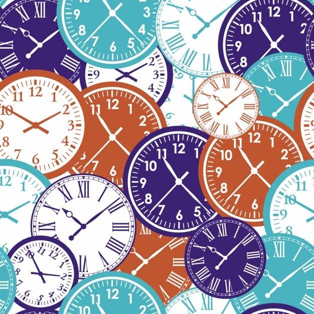 Klokken naadloze patroon textuur van de kleur van de tijd Gratis Vector