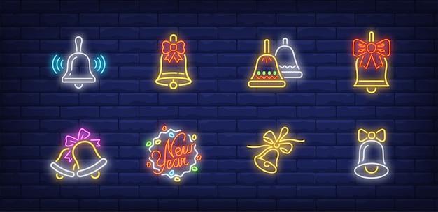Klokken symbolen in neon stijl Gratis Vector