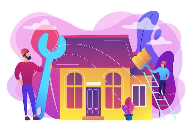 Klusjesman met grote moersleutel huis repareren en schilderen met penseel. diy-reparatie, doe-het-zelf-service, zelfbedieningsleerconcept. heldere levendige violet geïsoleerde illustratie Gratis Vector