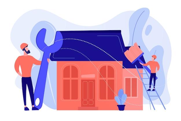 Klusjesman met grote moersleutel huis repareren en schilderen met penseel. diy-reparatie, doe-het-zelf-service, zelfbedieningsleerconcept Gratis Vector