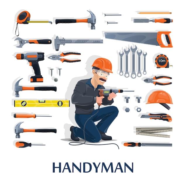 Klusjesman met werk tools cartoon van bouwsector, huisreparatie en renovatie. bouwer man karakter met schroevendraaiers, hamers en boor, helm, tang, moersleutel of moersleutel Premium Vector