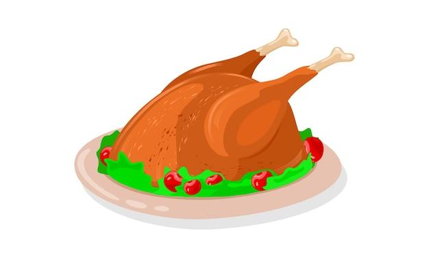 Knapperig geroosterde hele kip gegarneerd met groen en rode kersen is op schotel. Premium Vector