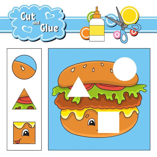 Knip en lijm. spel voor kinderen. werkblad voor het ontwikkelen van onderwijs. stripfiguur. Premium Vector