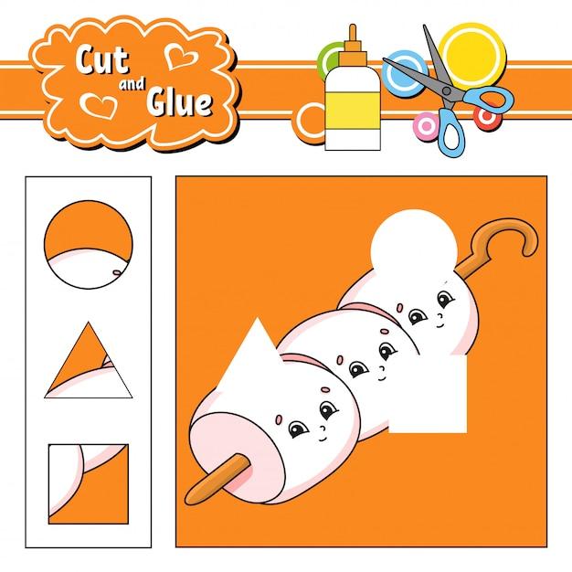 Knip en lijm. spel voor kinderen. werkblad voor het ontwikkelen van onderwijs. Premium Vector