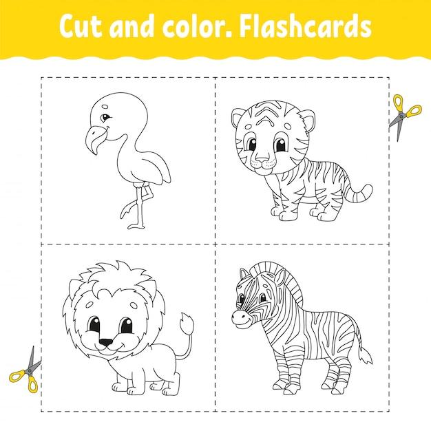 Knippen en kleuren. flashcard set. flamingo, tijger, leeuw, zebra. kleurboek voor kinderen. Premium Vector