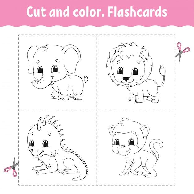 Knippen en kleuren. flashcard set. leeuw, aap, leguaan, olifant. kleurboek voor kinderen. Premium Vector
