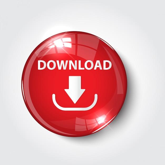 Knop download kleur rood glanzend Premium Vector