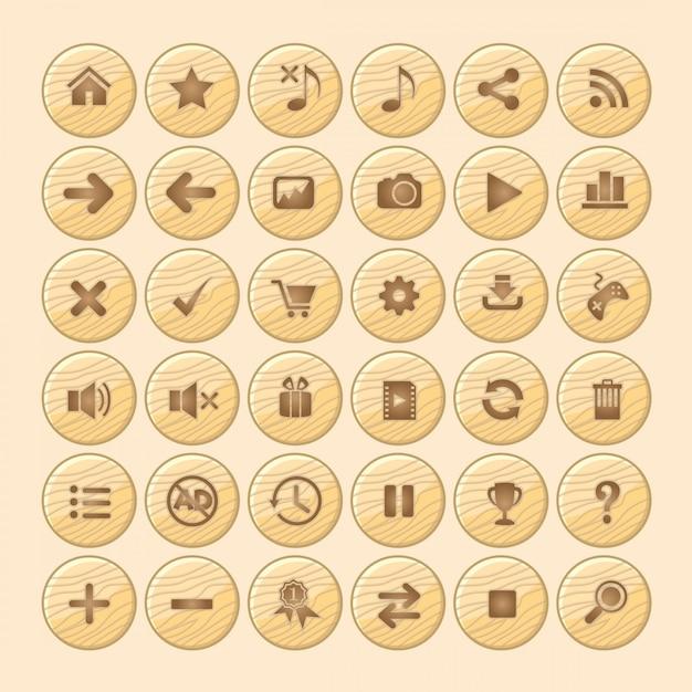 Knop hout pictogram gui voor games. Premium Vector