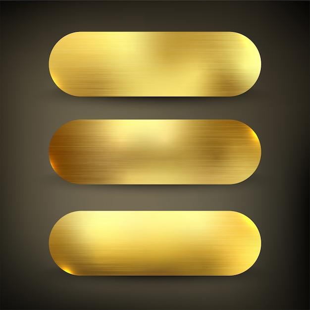 Knop instellen kleur gouden stijl Premium Vector
