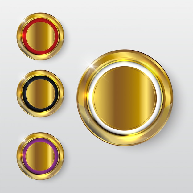 Knop premium glanzend goud 2 Premium Vector