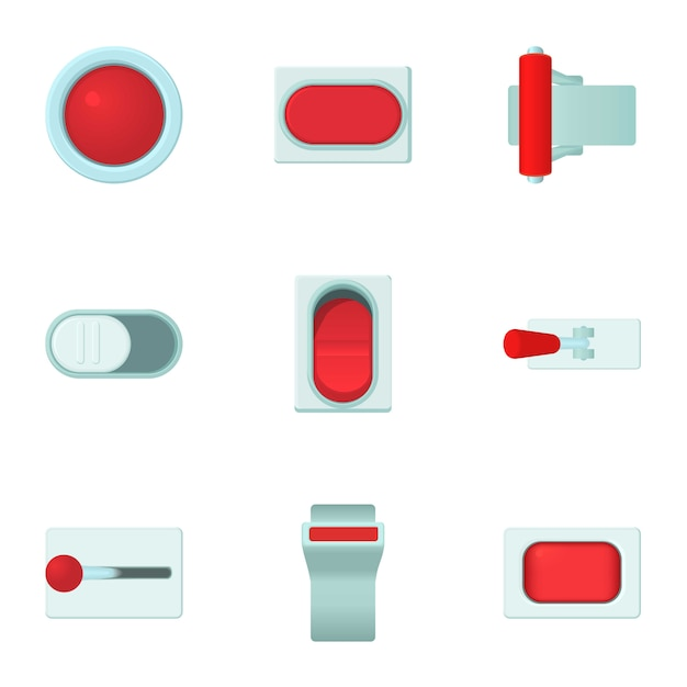 Knop set, cartoon stijl Premium Vector