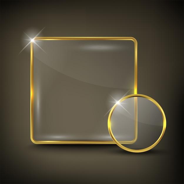 Knop vierkant web glanzend goud Premium Vector